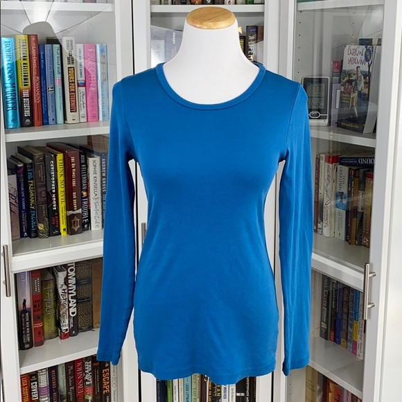 J. Crew Perfect Fit Blue Long Sleeve Crew Neck Tee